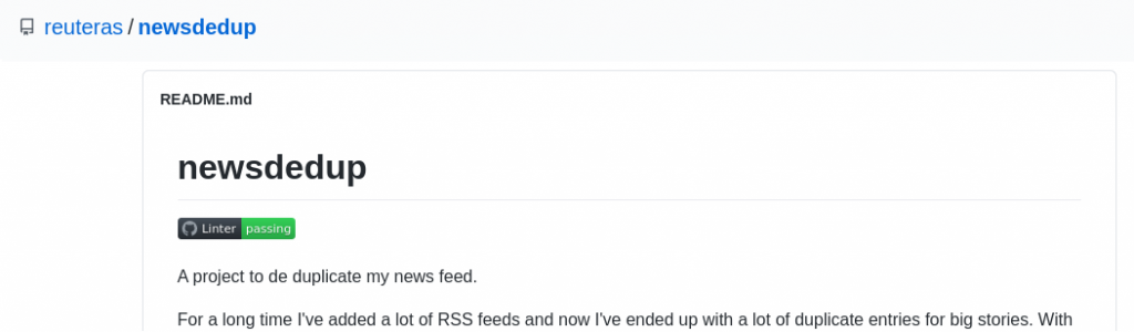 This image is just a pointless screenshot of GitHub repo reuteras/newsdedup, you can ignore it.